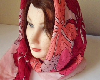 Chestnut Scarf, Silk Rayon Head Scarf with Chestnut Leaves and Chestnuts, Burgundy Pink Coral Scarf