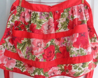 Red and Pink Poppy Apron, Handmade Cotton Kitchen Apron