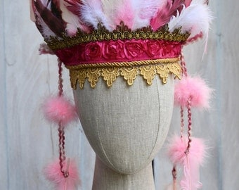 Indian Headdress pink and fuchsia - Tiger Lily - Feather Headdress - Indian Party - Wild One - Indian Costume - Girls Headdress.