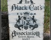 Black Cats, Cats, Black Cat's Association, Salem, Halloween, Wooden Signs, Rustic, Primitive Signs