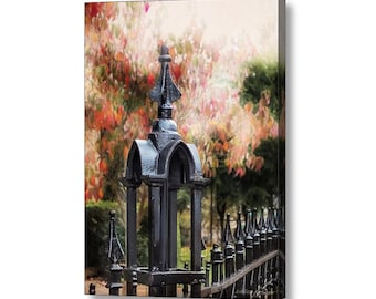 Gothic Romance Wrought Iron Fence Victorian Era Fall Landscape Autumn Colors Fine Art Photography Large Gallery Canvas Wrap Giclee