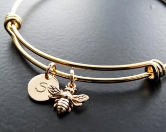 Bangle Bracelet Bumble Bee Bracelet Personalized Jewelry Initial Bracelet Bumble bee Jewelry GOLD initial bracelet bangle