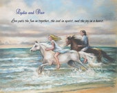 "Horses, Beach, Seascape, couple, romantic art, Personalized ""Chasing the Wind"" Archival art print,  Laurie Shanholtzer,"