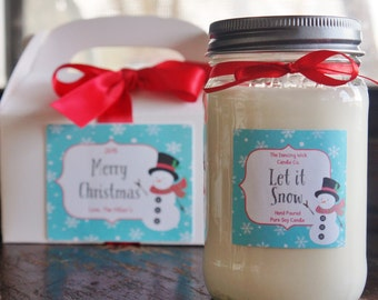 Holiday Candle//16 oz. Pure Soy Candle//Choose Your Scent//Christmas Candle//Christmas Gift with Box//Snowman Gift//Let it Snow//Snowflake