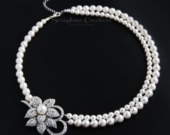 Bridal Pearl Necklace Wedding Jewelry Bridal Necklace Double Strand Wedding Necklace Swarovski Rhinestone Statement Bridal Cassia N18