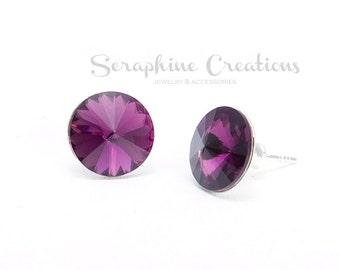 Amethyst Purple Earrings Swarovski Rivoli Stud Earrings Sparkly Crystal Bridal  Bridesmaid Gift Bridal Bridesmaid Jewelry Dark Purple K010
