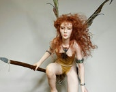 RESERVED, Commissioned Warrior Fairy, OOAK Hand Sculpted Fantasy Fairy Art Doll Collectible