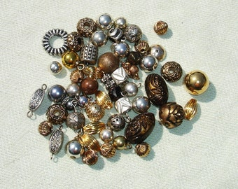 Gold & Silver Metal Findings -  Jewelry Making Supplies - 45 pcs