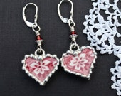 Earrings, Broken China Jewelry, Broken China Earrings, China Hearts, Red Transferware, Sterling Sliver