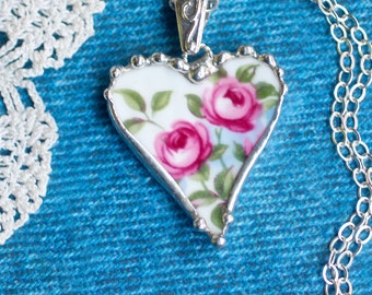 Necklace, Broken China Jewelry, Broken China Necklace, Heart Pendant, Pink Rose China, Sterling Silver, Soldered Jewelry