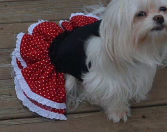 Minnie Style Dog Dress for Vacation, Florida Trip, Halloween and more!