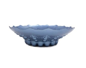 Vintage ARDA Glassware Blue Console Bowl Footed Mouth Blown Made in Turkey Art Glass Bowl Centerpiece
