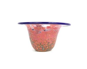Vintage Spatter Glass Bowl Art Glass Vase End of Day Console Polished Pontil Bohemian Glass
