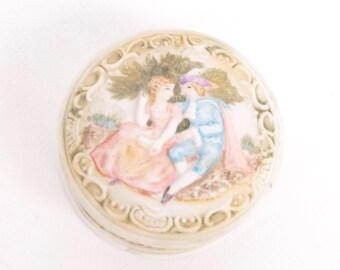 Vintage Courting CouplevTrinket Box Ring Holder Bisque Pill Box Topline Imports Made in Japan