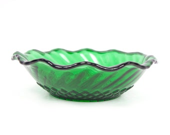 Vintage Anchor Hocking Bowl Forest Green Glass Diamond Swirl Design Candy Dish Ruffled Edge