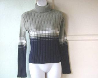 Small-Medium Grey/Navy Stripe Turtleneck w/ White Racing Stripe; Substantial Fisherman-Style/Warm Vintage  T-neck Pullover