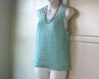 Sea Foam/Aqua Blue Crochet Tank Top - Small-Medium Aqua Sleeveless Sweater - Aqua Knit Tank - Aqua Cover Up