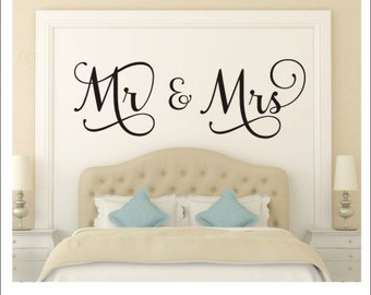 Mr And Mrs Wall Decal Mr And Mrs Vinyl Decal Couple Wall Decal Vinyl  Lettering Wedding