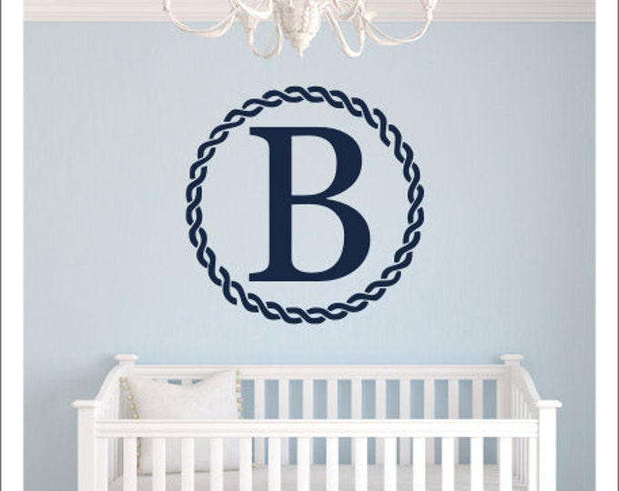 Monogram Wall Decal Rope Border Monogram Nautical Rope Monogram Boys Girls Nursery Decal Nautical Nursery Bedroom Vinyl Wall Decal Initial