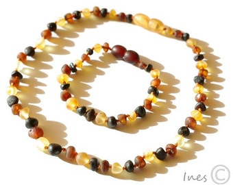 Raw Unpolished Genuine Baltic Amber Teething Necklace and Bracelet/Anklet, Multi Color Amber Baby Set
