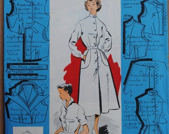 "Vintage French Original Sealed Unopened Sewing Pattern 1950's Patron Modèle Ladies Shirtwaist Dress Mannequin Size 44 - Bust 38"" #39094"