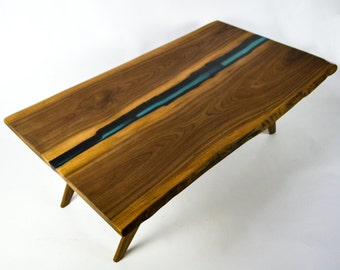 Resin River Coffee Table, Natural live edge slab table on Walnut Base