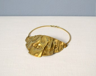 Vintage Studio Art Jewelry Brass Bib Necklace or Chocker