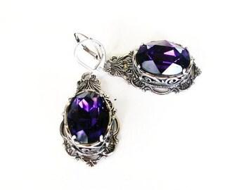 Purple Crystal Earrings Swarovski Purple Earrings Purple Gothic Wedding Earrings Victorian Gothic Jewelry