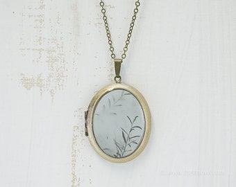 Green Leaves Photo Locket | Art Jewelry | Photography | Brass Oval Locket | Necklace | Pendant | Abstract