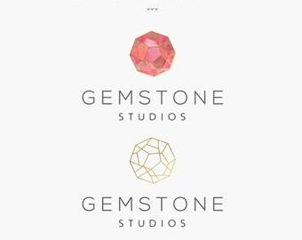 Premade Logo Design - Modern Geometric Logo - Gemstone Logo - Gold Watercolor - Jewelry Designer - Photographer - Small Business - Branding