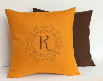 Mustard Monogram pillow 14 x 14 Personalized Linen pillow Personalized pillow Family name pillow