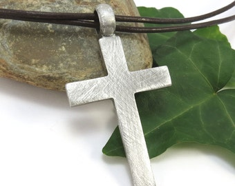 Large Rustic Cross Necklace, Mens Cross Pendant - Christian Jewelry, Leather Cord