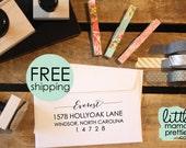 Address Stamp, Return Address Stamp, Calligraphy Stamp, Self-Inking Stamp