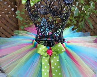 Baby Tutu 1st Birthday Tutu Girls Tutu Cake Smash Tutu Turquoise Lime Green and Hot Pink Tutu Photo Prop