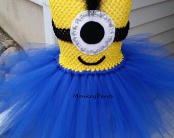 Minion Tutu Dress - Girl Minion Costume - Blue and Yellow Tutu Dress - Size 6 month - Girls size 12
