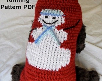 Snowman dog sweater knitting pattern - PDF for small dogs, Christmas, holiday