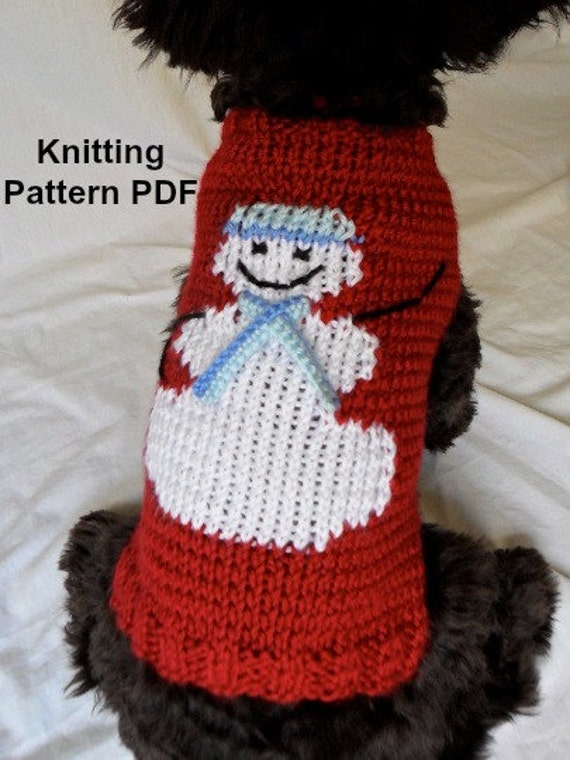 Diy Knitting Patterns : Snowman dog sweater knitting pattern PDF for small dogs