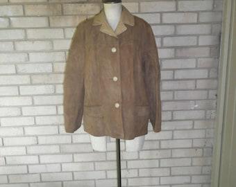 Vintage Women's Light Brown Suede Nubuck Leather Blazer Size Medium
