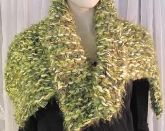 Women's hand crocheted acrylic multi toned sage green stole wrap