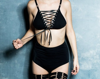 Lattice Bra. Lace Up Top