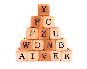 Wooden Speller Blocks--Baby Blocks--Alphabet Blocks--Natural Baby Toys-Free Shipping in the US