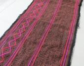 Handprinted Batik cotton Vintage Style fabrics,  Indigo Blue, Hmong, Table runner- from Thailand