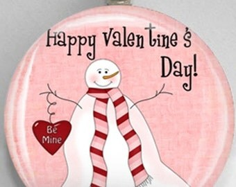 Interchangeable Magnetic Happy Valentine's Day Snowman Be Mine #47 Pendant Necklace Handmade