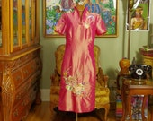 Vintage Exotic Hot Pink 70's Asian Sheath . Shimmering Floral & Butterfly Embroidery . Cheongsam . Changeant Rose to Orchid Silk Blend .