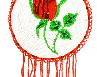 Vintage Navajo seed bead rose pendant necklace