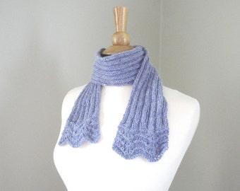 Short Knit Scarf, Small Office Scarf, Merino Wool & Angora, Knit Scarflette, Serenity Blue