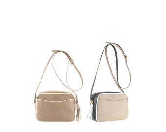Leather shoulder bag MARA // brown, black and white (Italian calf leather) - FREE SHIPPING
