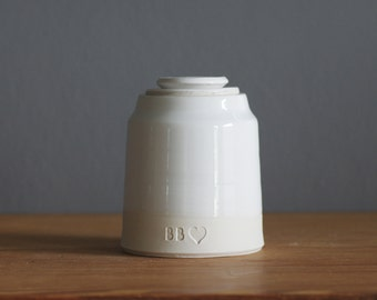 lidded and collared shape, larger urns. your choice of size, clay, glaze, text, and stamp options. urn for ashes or pet urn.