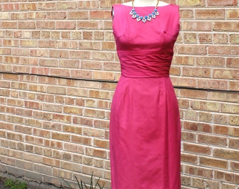 Vintage 60s Cocktail Dress - Pink Party Dress, 1960s Sheath Dress AS-IS - XS