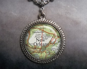 New Orleans map necklace, New Orleans map pendant, glass pendant necklace, New Orleans map jewelry, New Orleans map jewellery